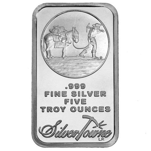 Buy 5 Oz Silvertowne Prospector Silver Bars Silver Com