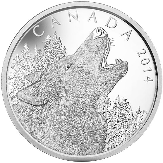 Buy 2014 1 2 Kilo Silver 125 Canadian Howling Wolf Coins