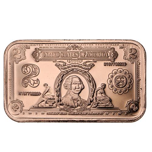 Copper  BANK NOTE  Bullion Bar $500.00  BILL  1 oz