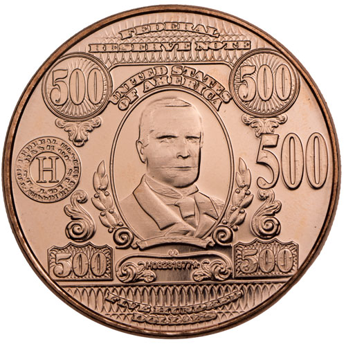 500 Oz Silvers: Buy 1 Oz $500 Banknote Copper Rounds (.999, New)