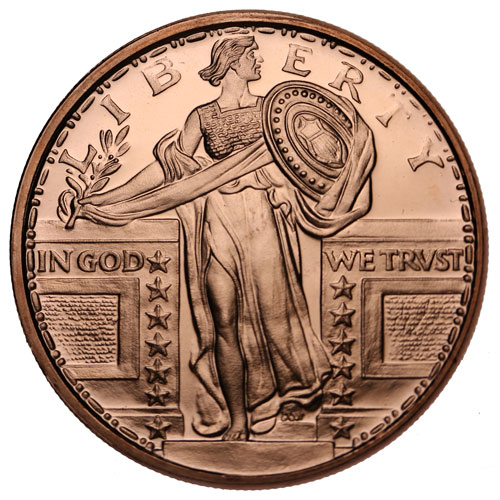 Buy 1 Oz Standing Liberty Copper Rounds 999 Pure