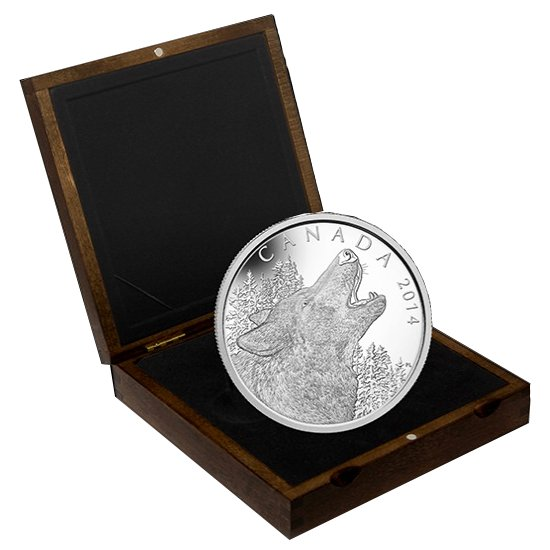 2014 1/2 Kilo Howling Wolf $125 Canadian Silver Coin