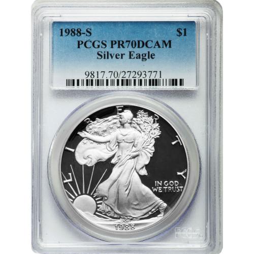 Buy 1988 S Silver American Eagles Pcgs Pr70 Dcam