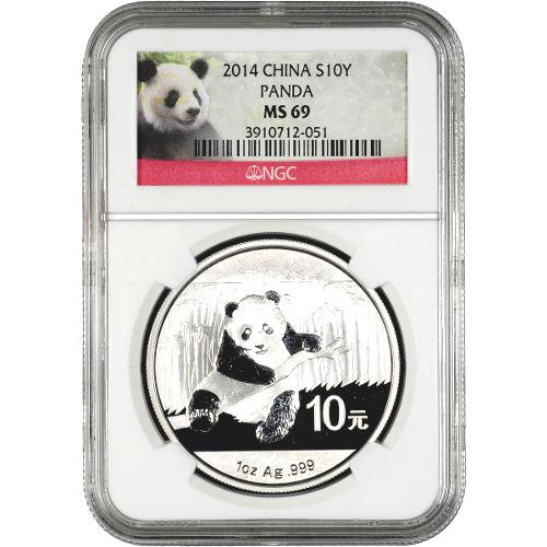 2014 1 oz Chinese Silver Panda NGC MS69