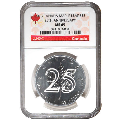 2013 25th Anniversary Canadian Silver Maple Leaf NGC MS69