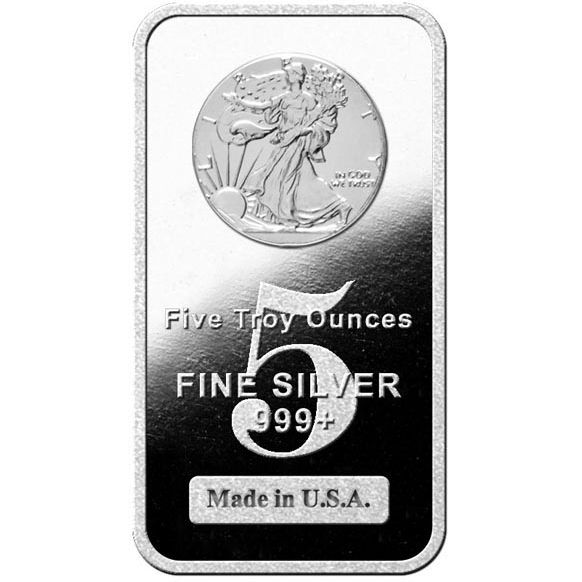 5 oz Walking Liberty Silver Bar (New)