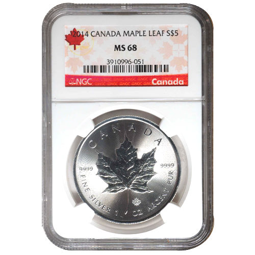 2014 Canadian Silver Maple Leaf NGC MS68