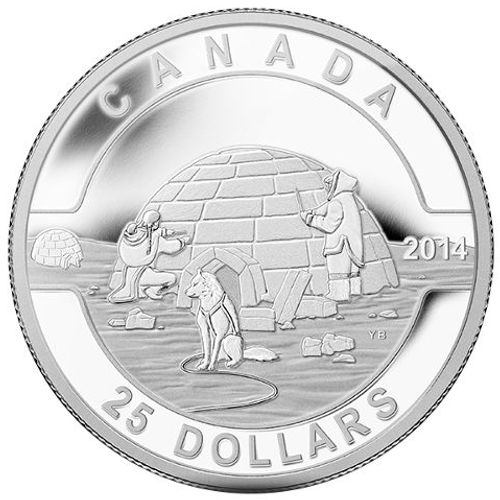 2014 1 oz Igloo $25 Canadian Silver Coin