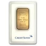 1 oz Credit Suisse Gold Bar (New w/ Assay)