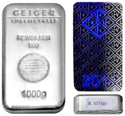 1 Kilo Geiger Security Line Silver Bar (New)