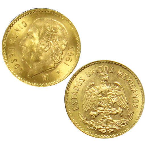 5 Peso Gold Mexican Coins Varied Years Condition