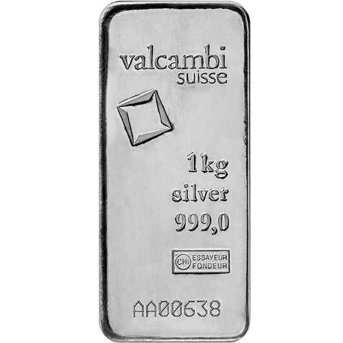 Buy 1 Kilo Valcambi Suisse Cast Silver Bullion Bars