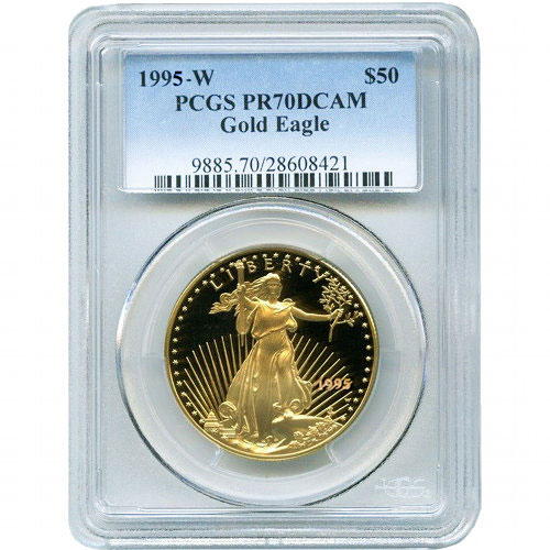 Buy 1995 W 1 Oz Gold Eagles Pcgs Pr70 Dcam Silver Com