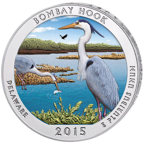 Buy 2015 5 Oz Colorized Bombay Hook Atb Silver Coins