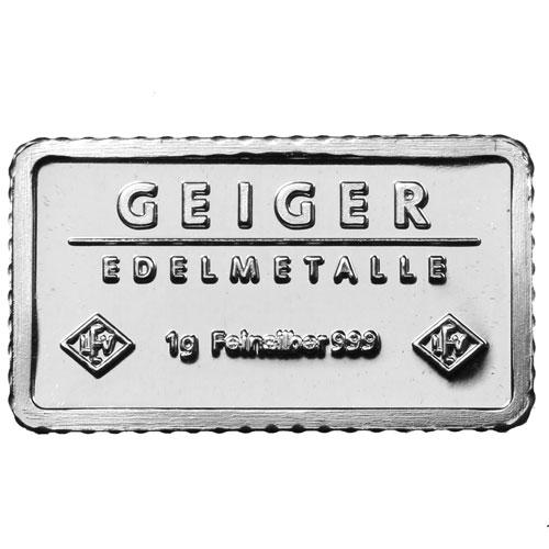 Buy 1 Gram Geiger Edelmetalle Silver Bars Silver Com