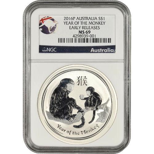 Buy 2016 1 Oz Silver Australian Monkey Coins Ngc Ms69 Er