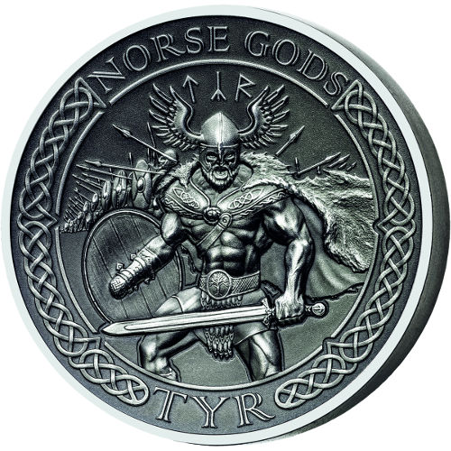 2015 2 oz Silver Cook Islands Norse God Tyr Proof Coins (Ultra High Relief)