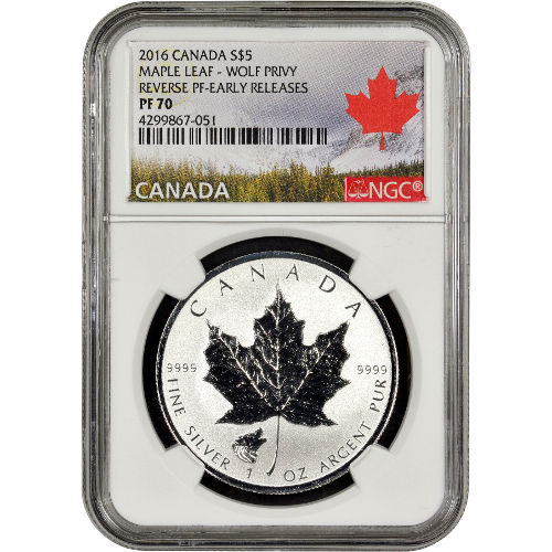 Buy 2016 1 Oz Wolf Privy Silver Maple Leafs Ngc Pf70 Er
