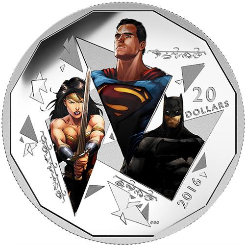 2016 1 Oz Silver Canadian Batman V Superman Trinity Coins