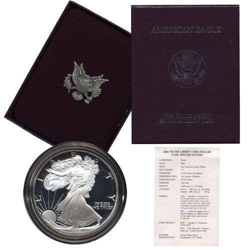 Buy 1991 S Proof Silver Eagle Coins Box CoA