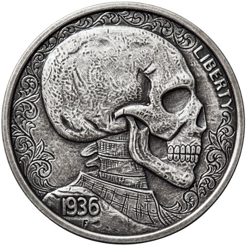 1 oz Antique Skulls and Scrolls Silver Hobo Nickel Rounds - Silver.com