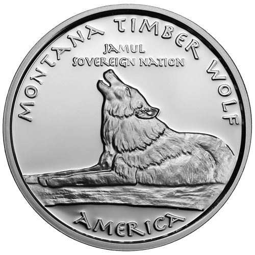 2015 1 Oz Proof Silver Montana Crow Timber Wolf Coins