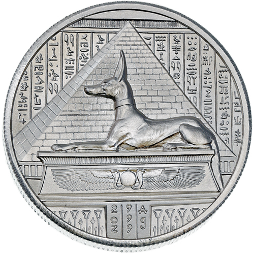 2 Oz Elemetal Egyptian God Series Anubis Silver Rounds