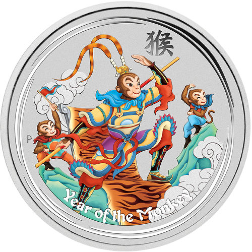 In Capsule 2016 1//2 oz Australia Silver Lunar Colorized Monkey BU