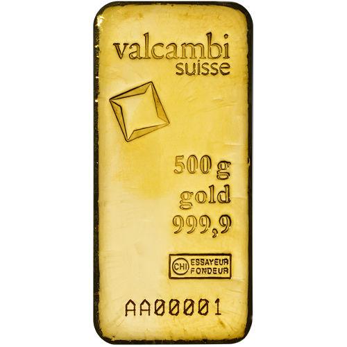 500 Gram Valcambi Cast Gold Bar New W Ay