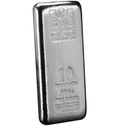 Buy 10 Oz Republic Metals Cast Silver Bars Silver Com