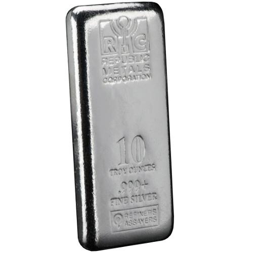 Buy 10 Oz Republic Metals Cast Silver Bars Silver Com