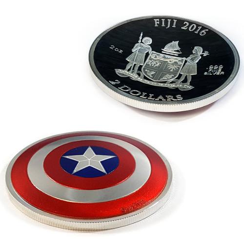 2016 2 Oz Silver Fiji Captain America Shield Coins Silver Com