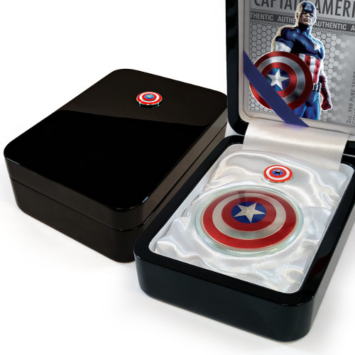 2016 2 Oz Silver Fiji Captain America Shield Coins