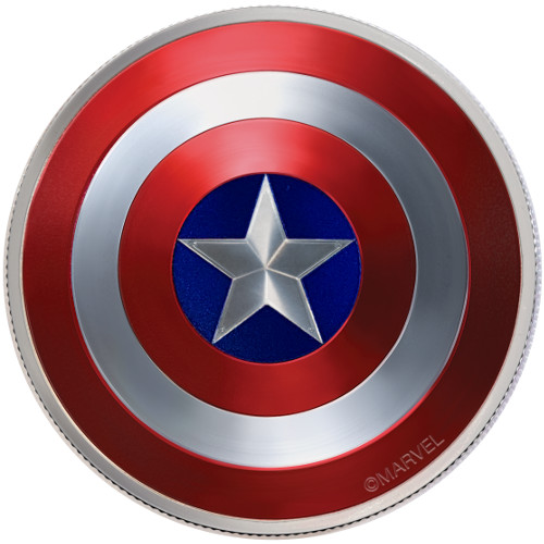 2016 2 oz Silver Fiji 75th Anniversary Captain America Shield ...