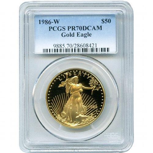 Buy 1986 W 1 Oz Proof Gold Eagles Pcgs Pr70 Dcam