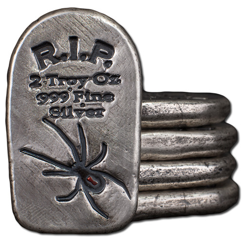 Buy 2 Oz Monarch Tombstone Black Widow Silver Bars