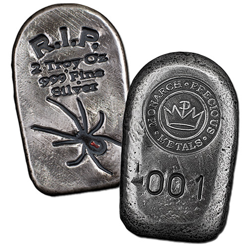 Buy 2 Oz Monarch Tombstone Black Widow Silver Bars