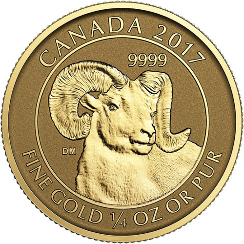2017 1 4 Oz Gold Canadian Big Horn Sheep Reverse Proof