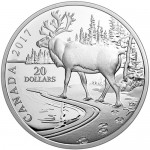 2017-1-oz-proof-canadian-silver-natures-impressions-woodland-caribou-coin-rev