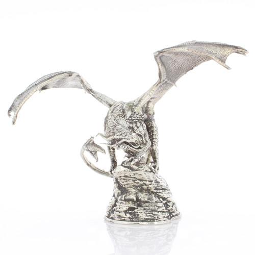 buy 8 oz silver antique finish coco dragon statues silver com