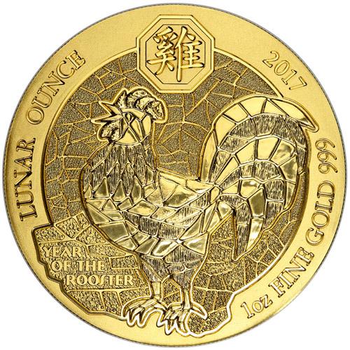 2017 1 Oz Gold Rwandan Lunar Rooster Coins Bu Box Coa