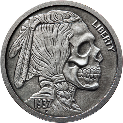 Buy 5 Oz Antique Silver Indian Skull Rounds New W Coa