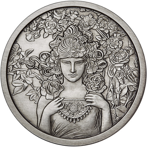 Buy 1 Oz Antique Silver Mucha Collection Rose Rounds