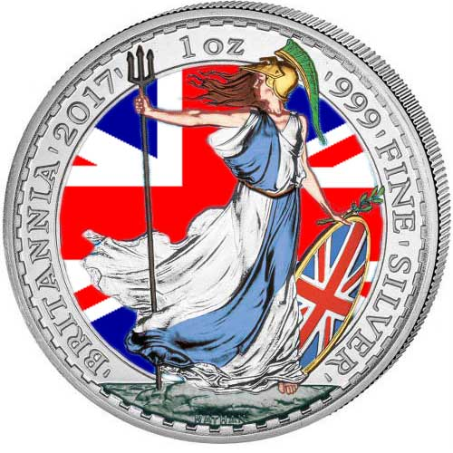 Buy 2017 Colorized Silver British Britannias 999 Bu