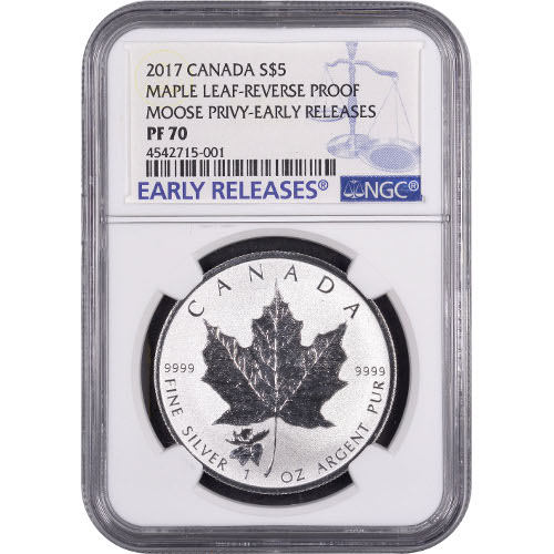 Buy 2017 1 Oz Moose Privy Silver Maple Leafs Ngc Pf70 Er