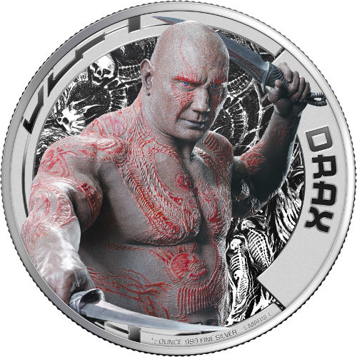 2017 1/2 Oz Guardians Of The Galaxy Drax Silver Coins