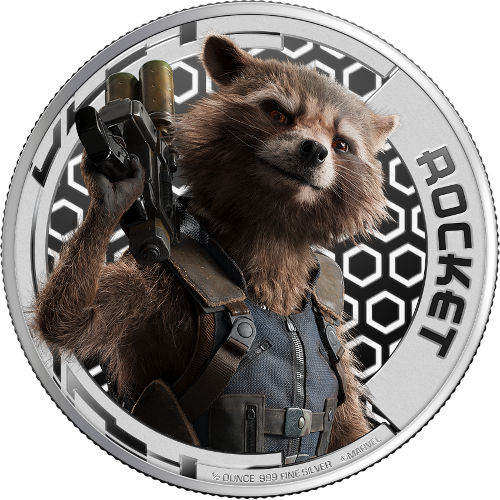 2017 1 2 Oz Silver Guardians Of The Galaxy Rocket Coins