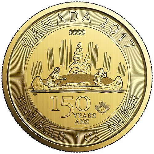 2017 1 Oz Gold Canadian Voyageur 150th Anniversary Coins