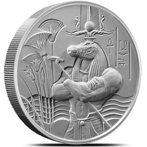 2 Oz Silver Sobek Rounds Egyptian Gods Series 3 New