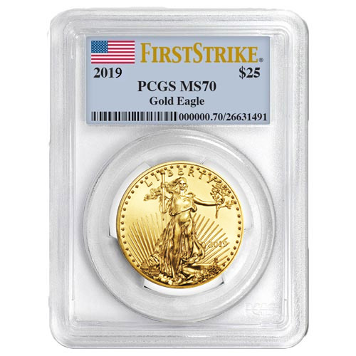 Buy 2019 1 2 Oz American Gold Eagle Coin Pcgs Ms70 Fs